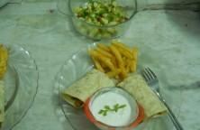 Chick Peas Burritos with Sakrim and Chilli Cucumber Salsa