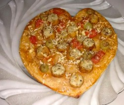 Homemade pizza - heart shaped