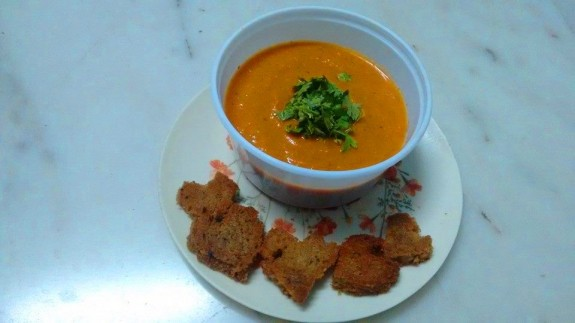 Tomato soup with heart shaped croutns