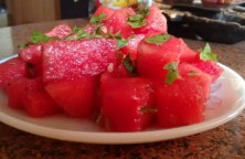 Watermelon Basil Leaves Salad
