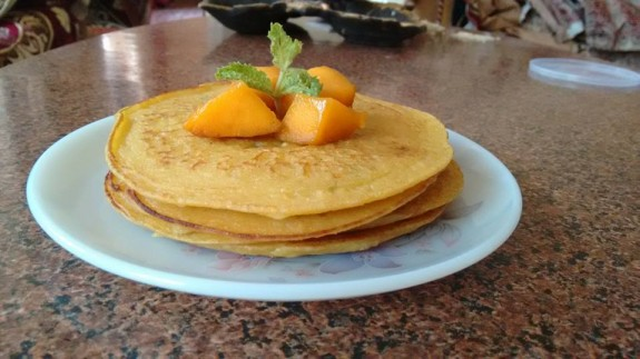 Eggless Mango Mint Pancake recipe